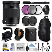 """Sigma 18-300mm F3.5-6.3 DC MACRO OS HSM C Lens for Nikon (886306) with 3 Piece Filter Set (UV-CPL-FLD) + Stabilizer Handle + Sling Backpack + 67"""" Monopod + Wrist Strap + Cleaning Kit"""