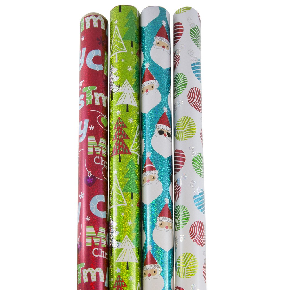 JAM Paper Christmas Wrapping Paper, 4ct