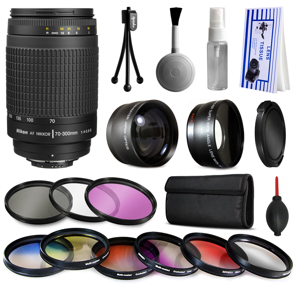 Nikon AF 70-300mm Manual Lens + Premium Accessories Kit includes 2.2x & 0.43x Adapters + 9 Filters for Nikon DF D7200 D7100 D7000 D5500 D5300 D5200 D5100 D5000 D3300 D3200 D3100 D3000 D300S D90 D60