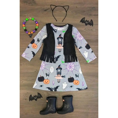 Casual Clothes For Girls (Halloween Toddler Kids Baby Girls Cartoon Long Sleeve Dress Casual)