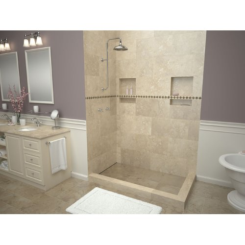 "Tile Redi WF3660LDR-PVC 36"" x 60"" Corner Shower Pan with Double Curb and 22"" Lef"