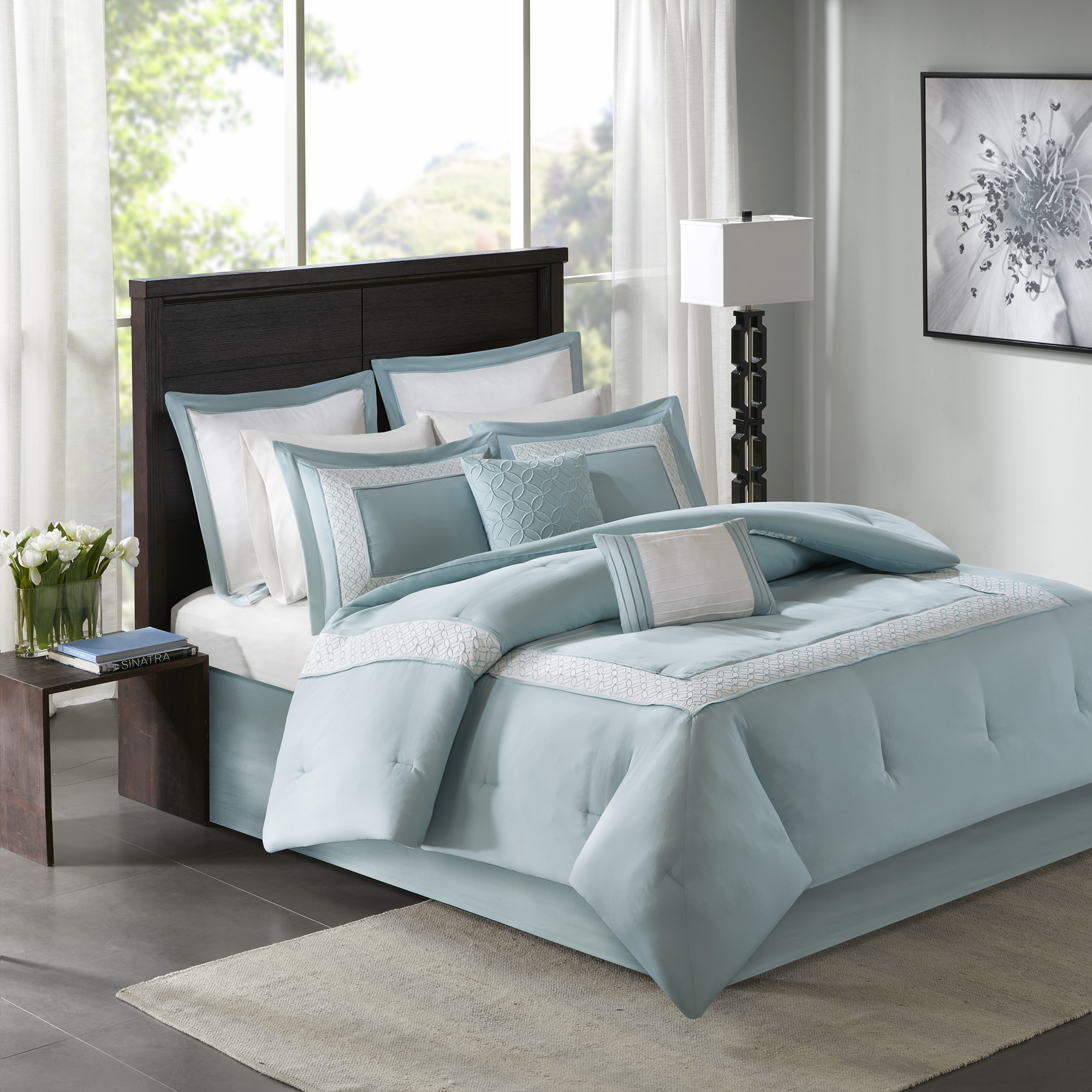 Home Essence Heritage 8 Piece Comforter Bedding Set with Bedskirt