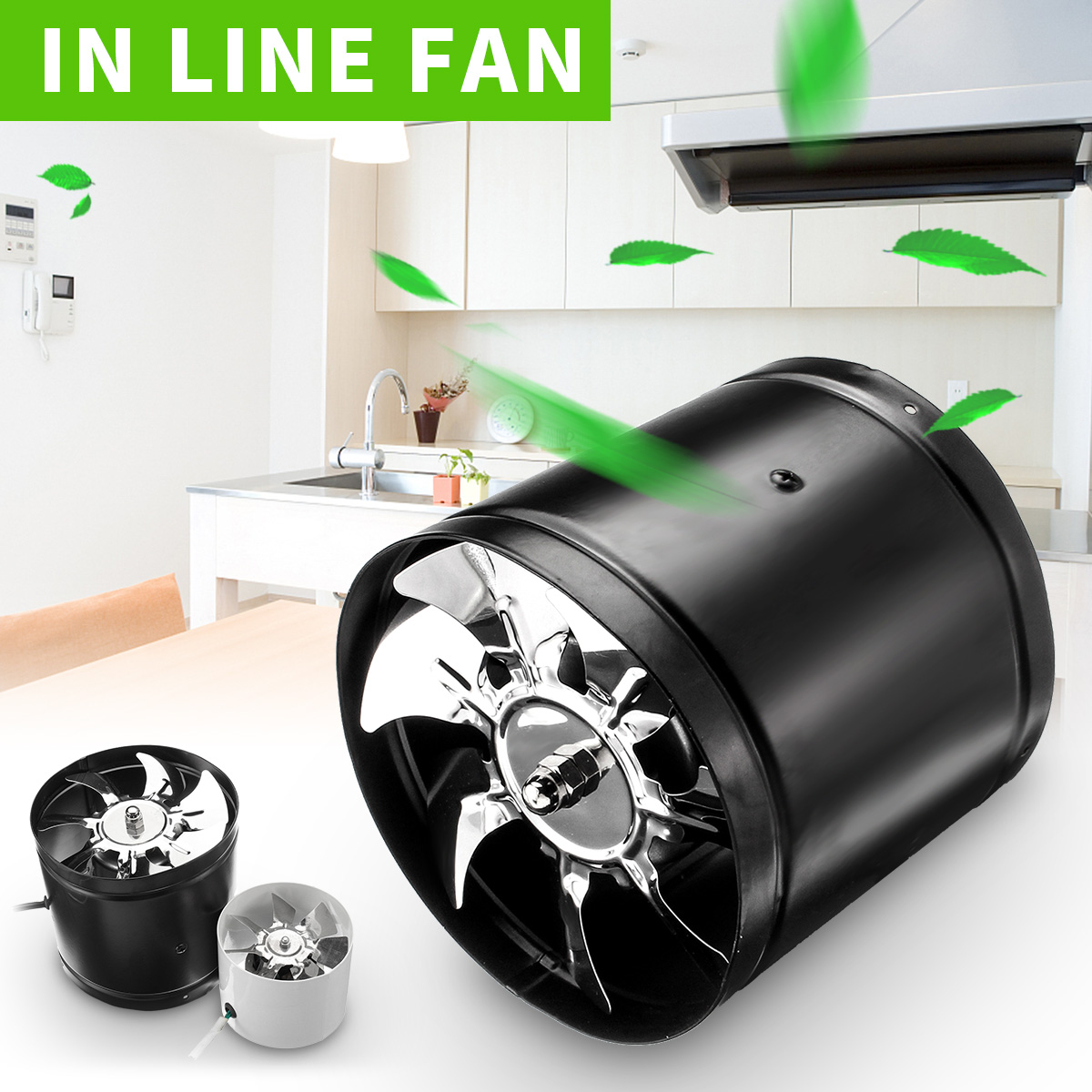 "4"" (White) 6"" (Black) Duct Booster Inline Exhaust Ducting Blower Fan Home & Kitchen Cool Vent Metal Blade Air Cooling Ventilation Vent Kitchen Bathroom Window Home Grow Tent"