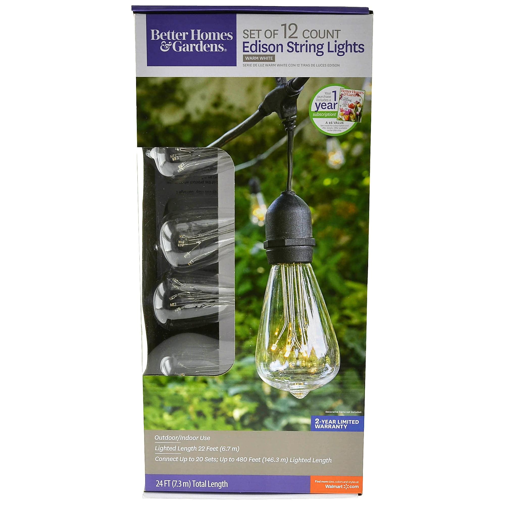 Better Homes & Gardens Edison String Lights, Set of 12