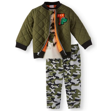 Wonder Nation Baby Boys' Bomber Jacket, T-shirt, & Jogger Pants, 3pc Outfit Set