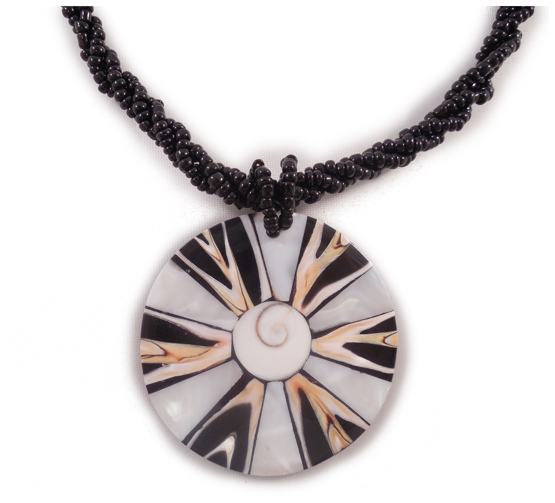 """Charming Shark Boys Deco Shell Beaded with Starburst Necklace 16"""" Black"""