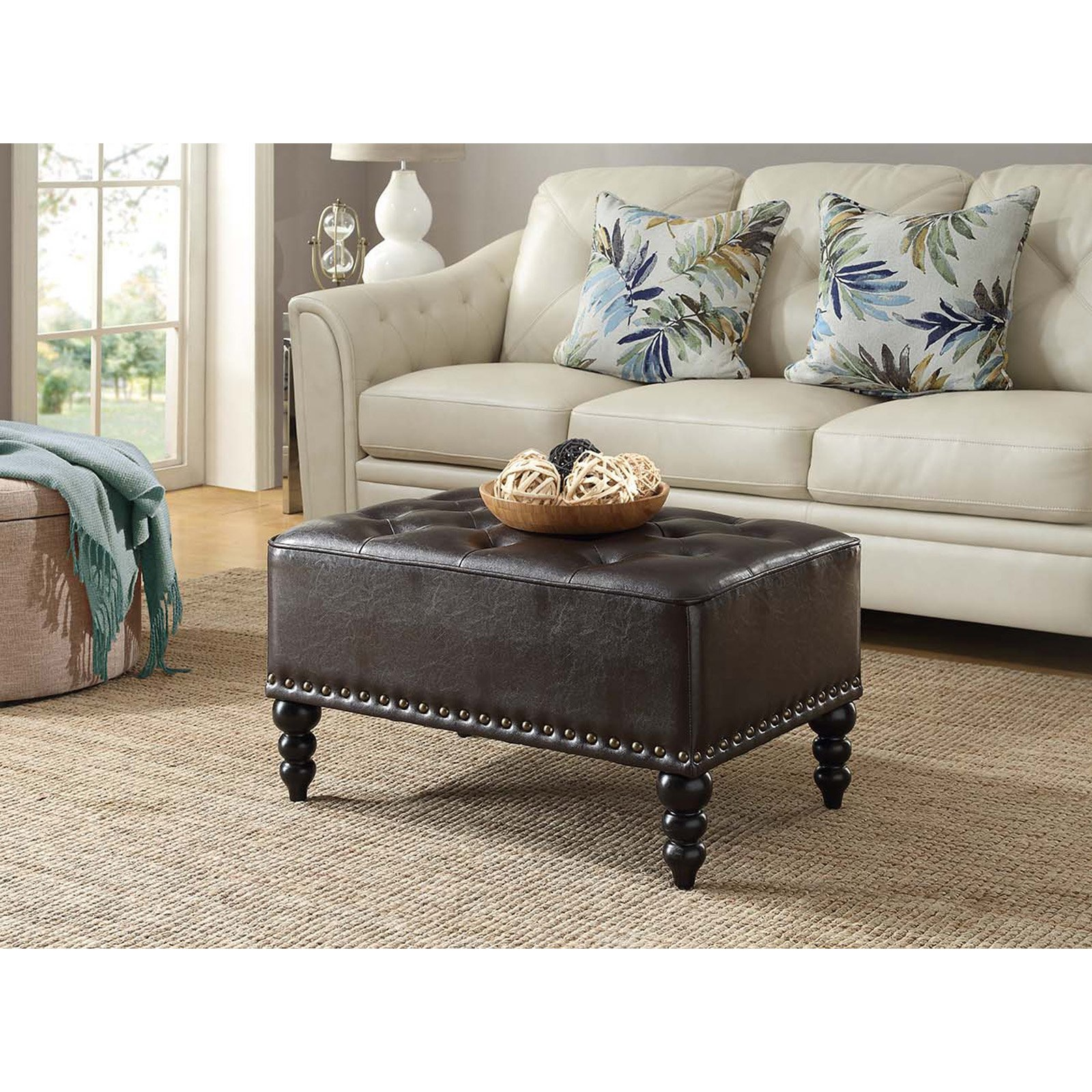 Convenience Concepts Designs4Comfort No Tools Portman Tufted Ottoman