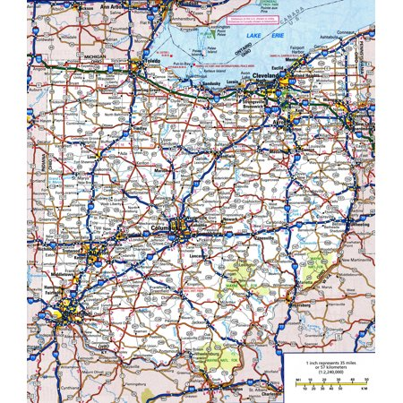 Laminated Map - Large detailed roads and highways map of Ohio state with all cities and national parks Poster 24 x (Sylvia Park Map)
