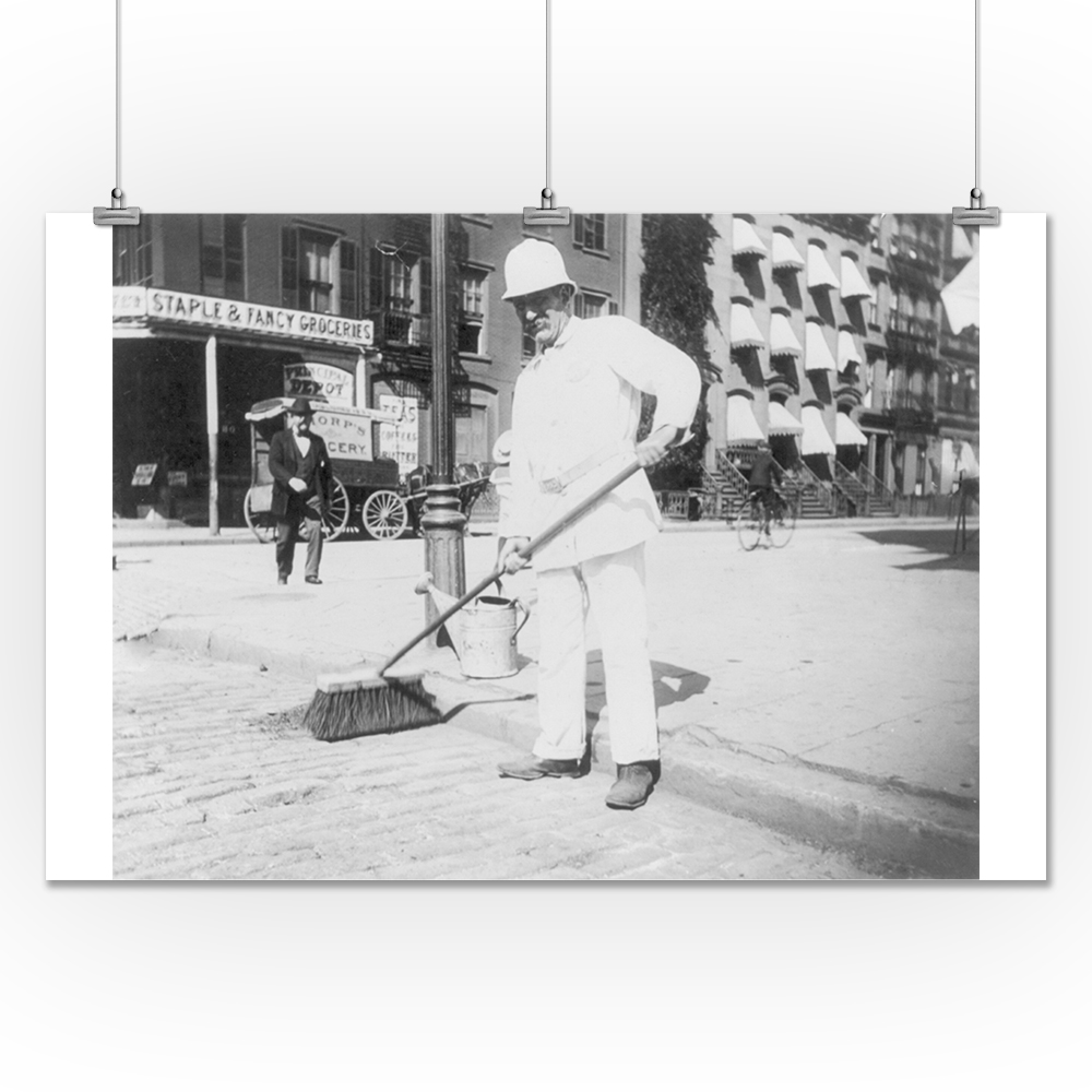 Lantern Press Street Sweeper with His Broom NYC Photo (24...