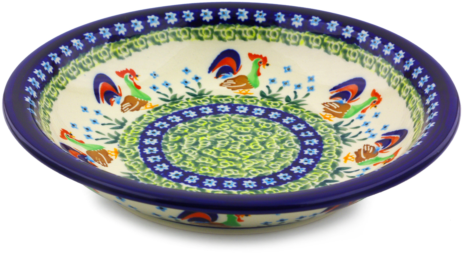 Polish Pottery 9-inch Pasta Bowl (Country Rooster Theme) Signature UNIKAT Hand Painted in Boleslawiec, Poland... by Zaklady Ceramiczne