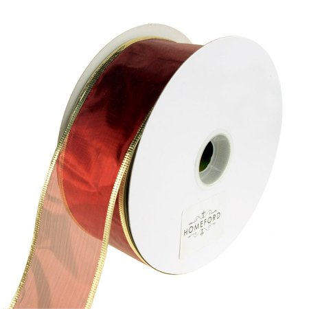 Gleam Wired Metallic Christmas Holiday Ribbon, 2-1/2-Inch, 50 Yards