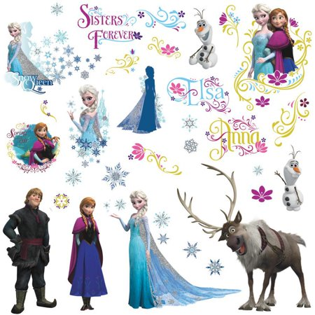 Disney Frozen Family Peel & stick Wall Decals with Glitter,  36 Count