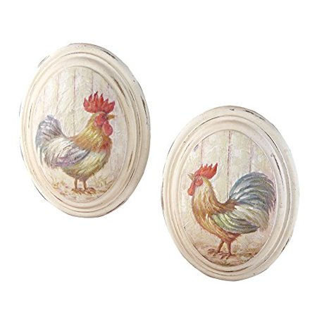 Country rooster oval wall art set of 2 - Oval wall decor ...