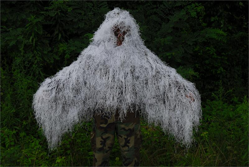 """Click here to buy Ghillie Suits The """"Tracker"""" Ghillie Poncho Synthetic thread Winter White by Ghillie Suits."""