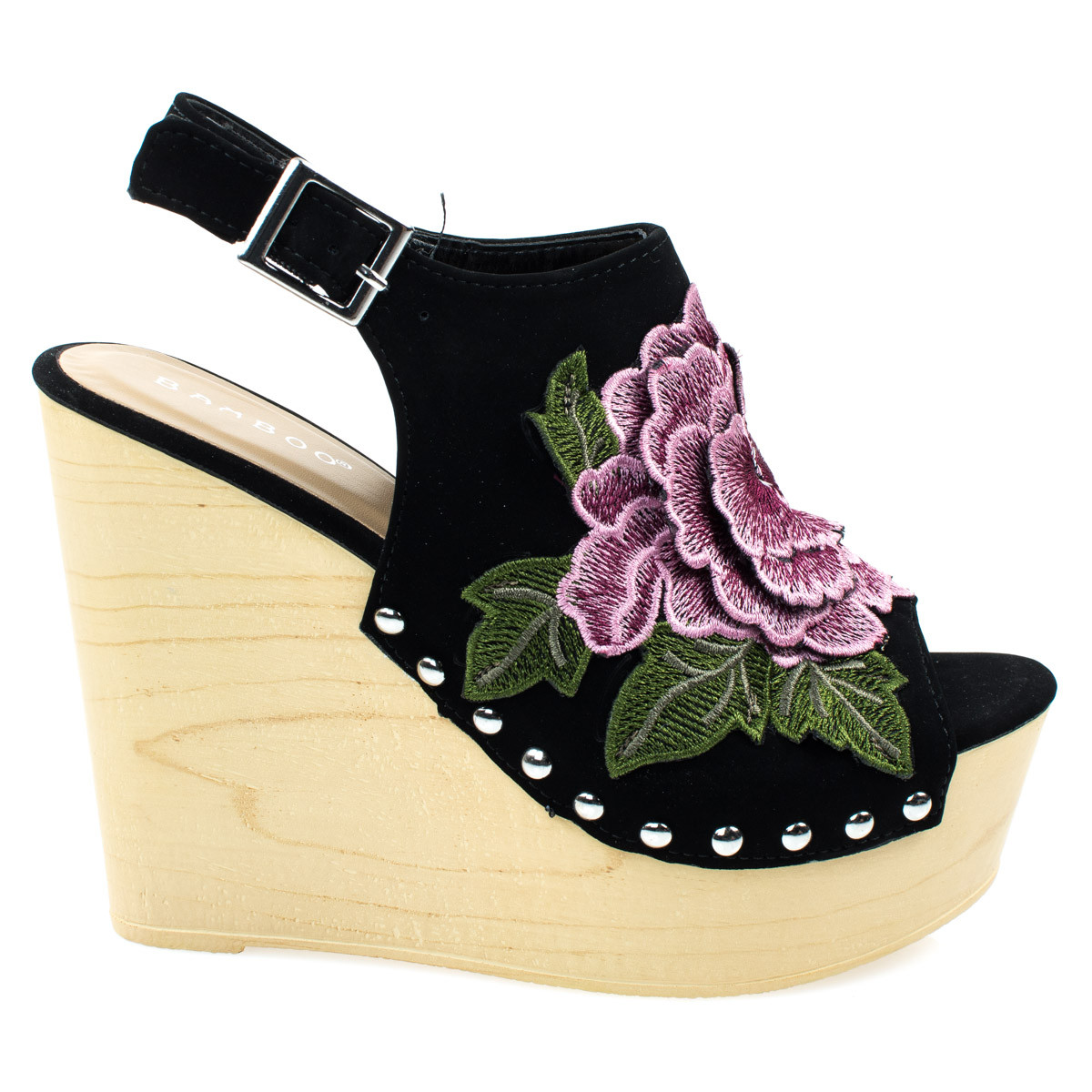 Woobery17 by Bamboo, Black Large Floral Patch On Wooden Platform Wedge Sandal, Metal Bolted Detail.