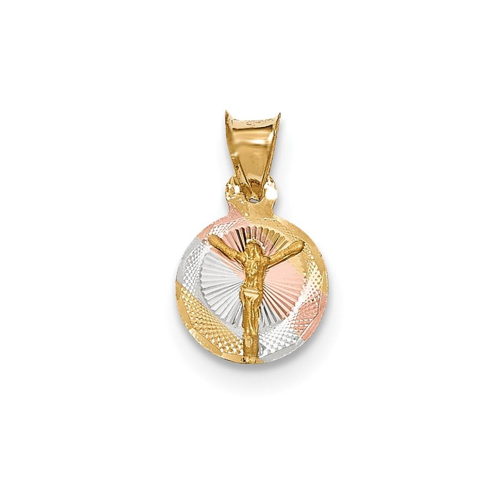 14k Yellow Gold & Rhodium Polished & Diamond Cut CORPUS Circle Pendant