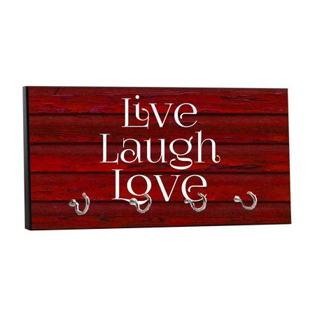 """Live Laugh Love - On Red Wood Print - 5"""" by 11"""" Key Hanger Rack - Household Decoration with Four Silvertone Hooks"""