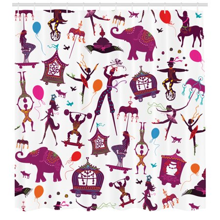 Circus Shower Curtain Colorful With Magician Elephant Dancer Acrobat And Various Fun Characters