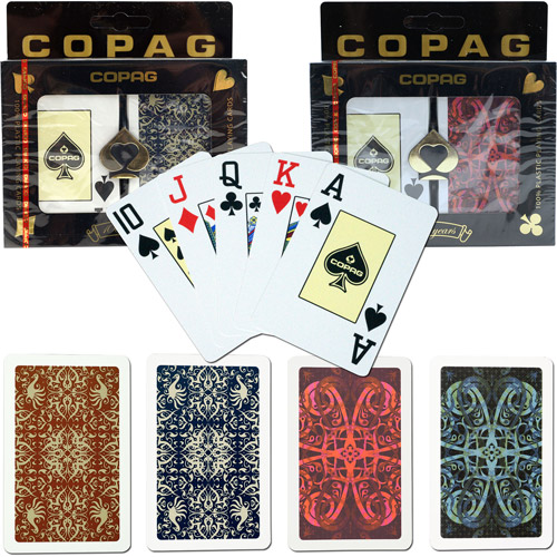 Trademark Poker Copag Bridge Size Jumbo Index, Gold Line Script & Aldrava