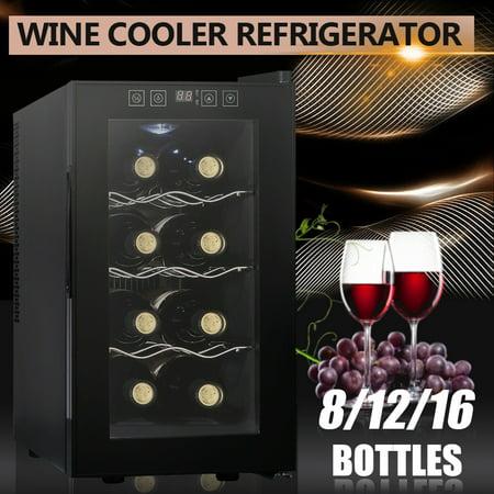 Compact Wine Cooler Refrigerator 8 12 16 Bottle Bar Ventilation Thermostat Refrigerator ()