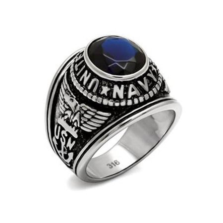 Mens 316 Stainless Steel Wide Band Navy Miliatry Sapphire CZ Ring - Size 10