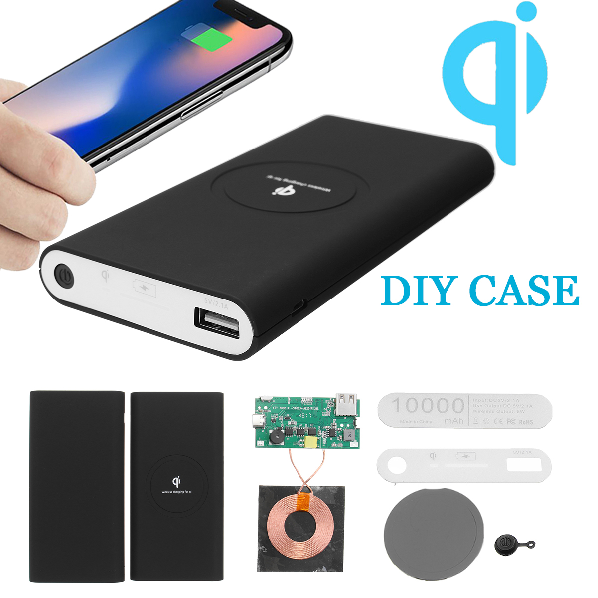 QI Power Bank Charger DIY Case Kit Wireless Charging USB Type-C for Samsung Galaxy Note 8 S9/S8/S8 Plus/S7 Edge/S7 & all chargingpad Qi-Enabled Cell Phone
