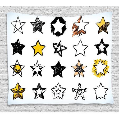 Rock Star Themed Classroom (House Decor Tapestry, Sweet Sixteen Stars Hand Drawn Colorful Art Rock Punk Themed Teen Room Art, Wall Hanging for Bedroom Living Room Dorm Decor, 60W X 40L Inches, Yellow White,)