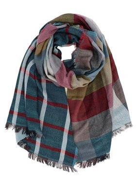 Dual-Sided Plaid Oblong Scarf