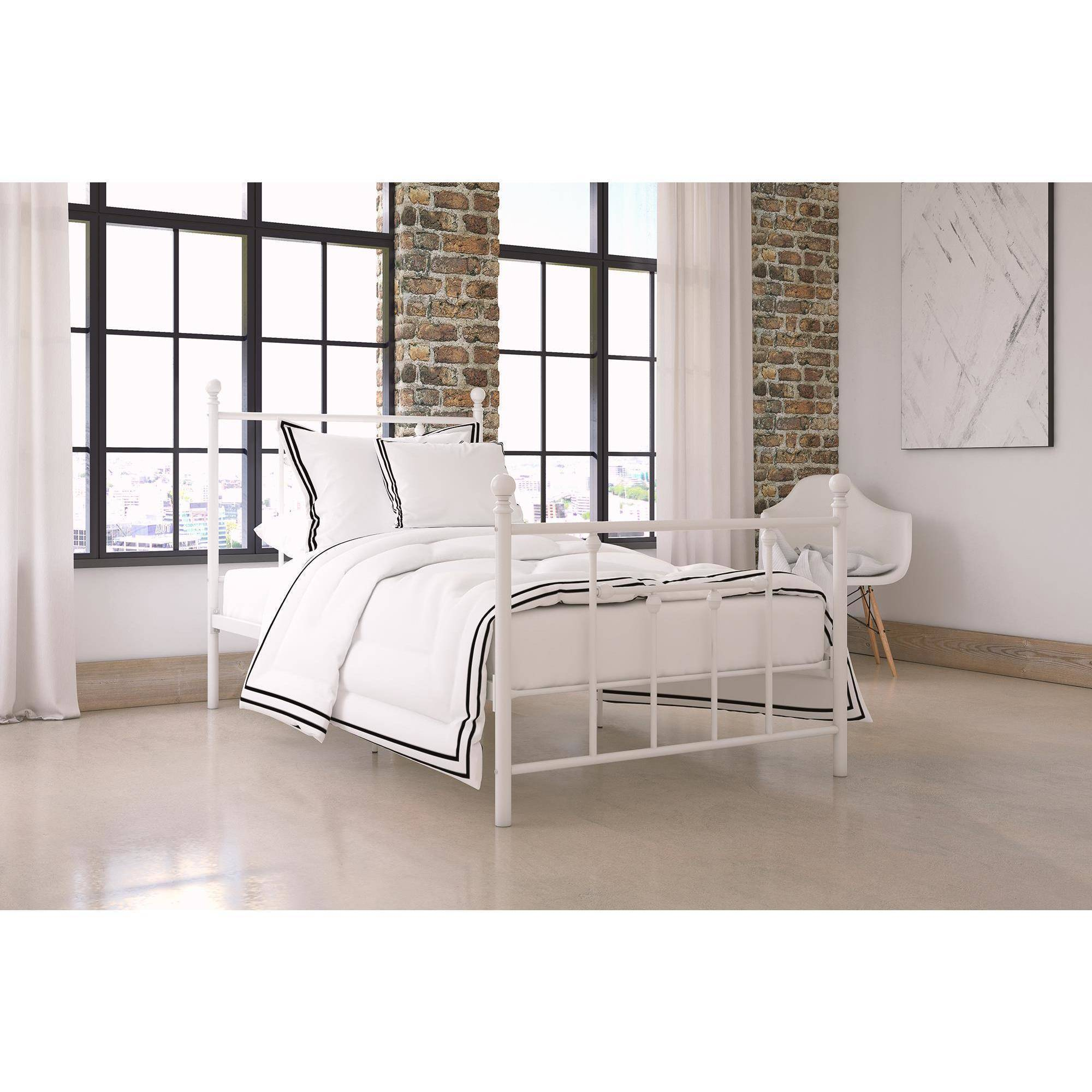 Dorel Home Manila White Metal Bed, Multiple Sizes