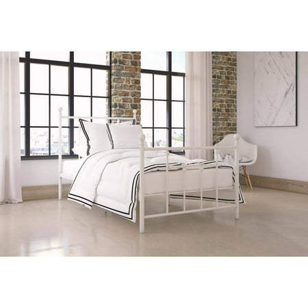 dorel home manila white metal bed multiple sizes