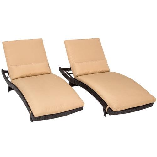 TK Classics Bali Chaise Lounge with Cushion (Set of 2)