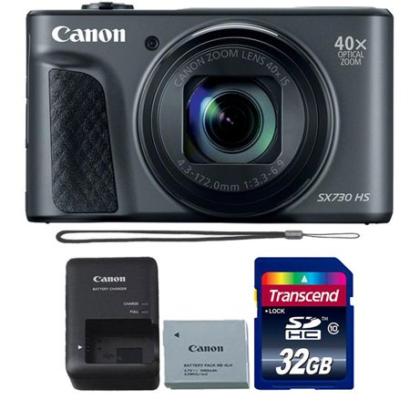 Canon Powershot SX730 HS Compact Digital Camera (Black) with 32GB Memory (Canon Powershot A95 Memory)