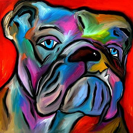 CANVAS Thats Bull by FidoStudio 12X12 Gallery Wrap Art Print Poster Wall Decor Dog Pop Art Bright Colors Pet Shop Art Dog Lovers Bull Dogs Woof ()