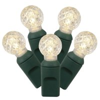 """Set of 100 Warm White LED G12 Berry Christmas Lights 4"""" Spacing - Green Wire"""