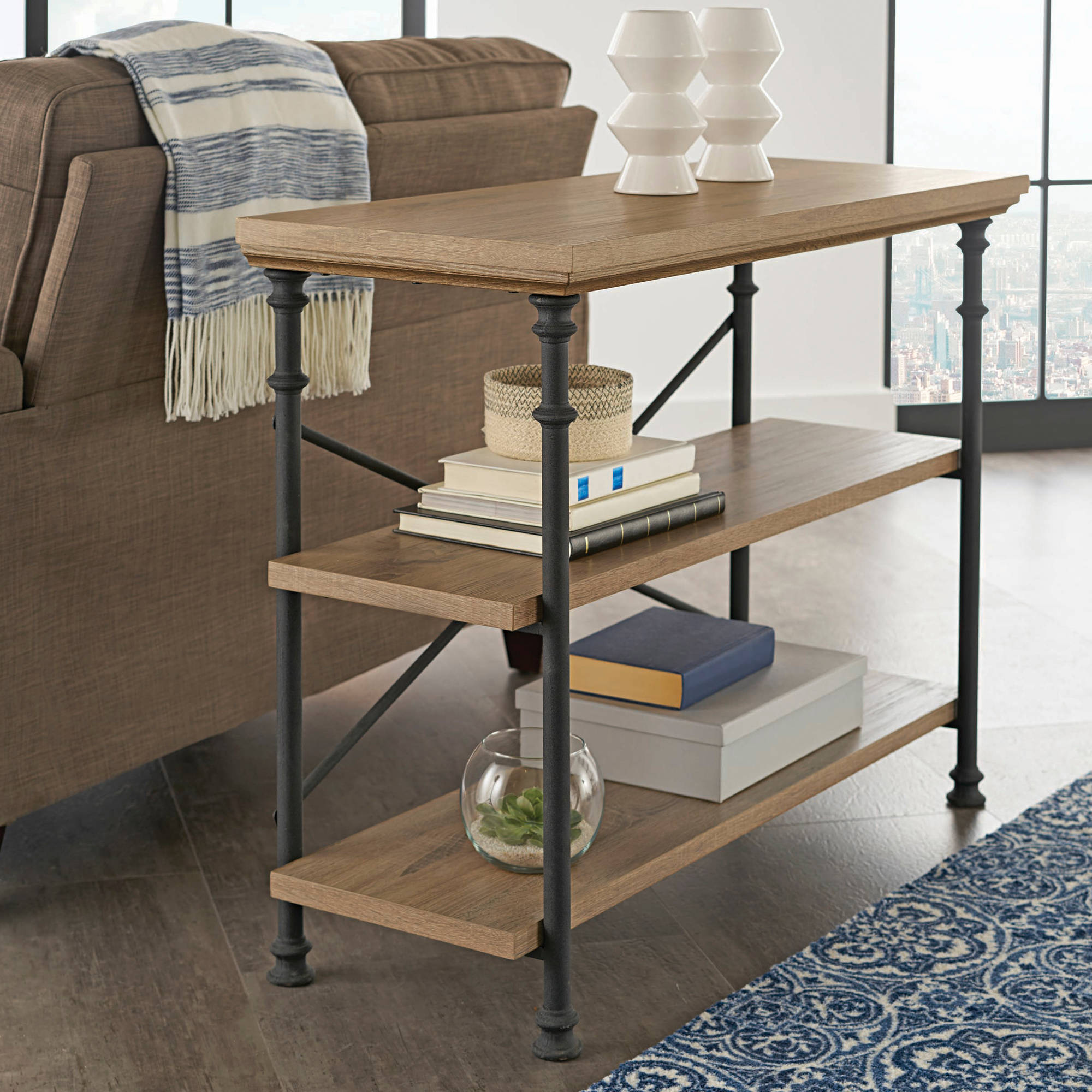 "Better Homes & Gardens River Crest Anywhere Console for TVs up to 42"", Rustic Oak Finish"