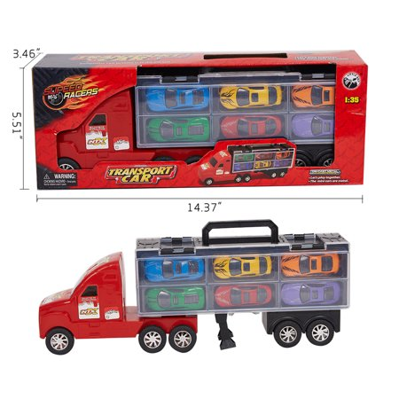 KARMAS PRODUCT Kids Transport Car Carrier Truck Toy for Boys Girls Includes 6 Semi Metal Cars - Tricks For Kids