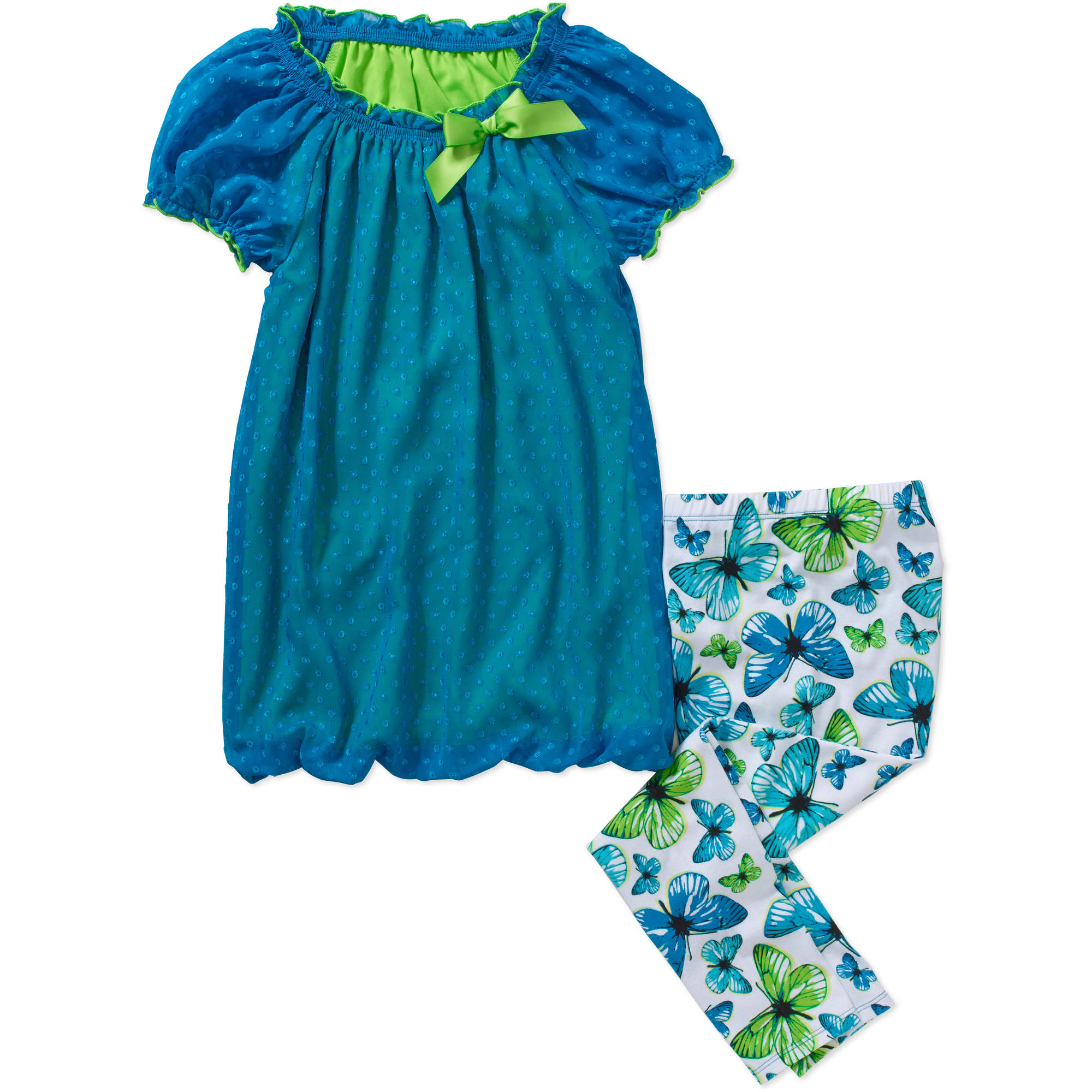 George Girls' Cap Sleeve Bubble Top and Legging Set