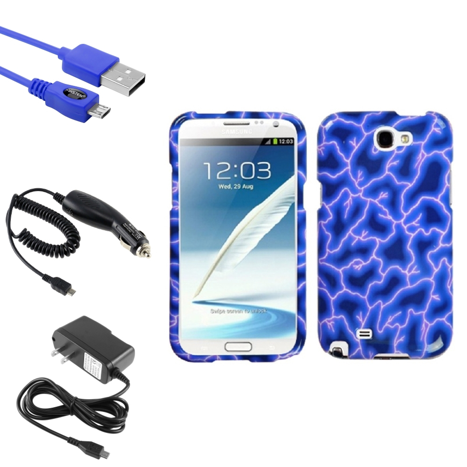 Insten Blue Lightning Hard Case DC Home Charger Cable For Samsung Galaxy Note 2 II