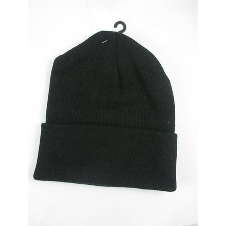 Plain Beanie Ski Cap Skull Hat Warm Solid Color Winter Cuff New Black Beany Men (Plain Skulls To Decorate)