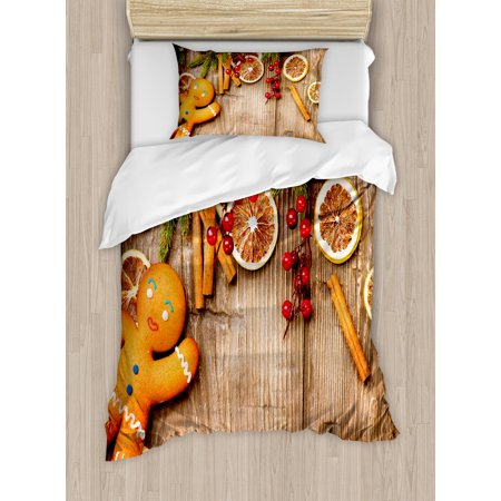 Gingerbread Man Twin Size Duvet Cover Set  Rustic Composition With Holly Berry Orange Slice Cinnamon And Biscuit  Decorative 2 Piece Bedding Set With 1 Pillow Sham  Brown Orange Red  By Ambesonne