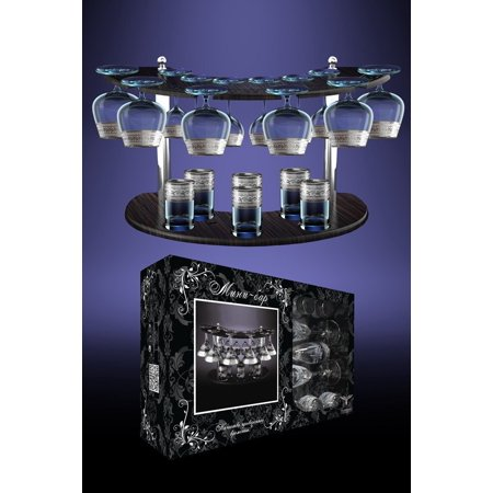 Crystal Goose GX-08-1812/19, Set of 6 Cognac Brandy Glasses, 6 Long Stem Liquor Cordial Glasses, 6 Heavy-Base Vodka Shot Glasses, with Stand, Glassware Set with Platinum-Plated Sputtering, Gift Box
