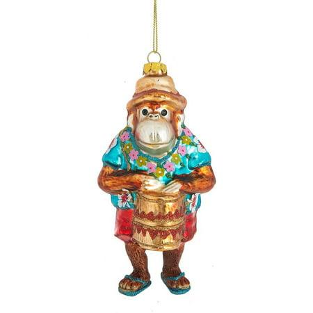 Funny Monkey Playing Bongo Drum Christmas Holiday Ornament](Halloween Sock Monkey Ornaments)