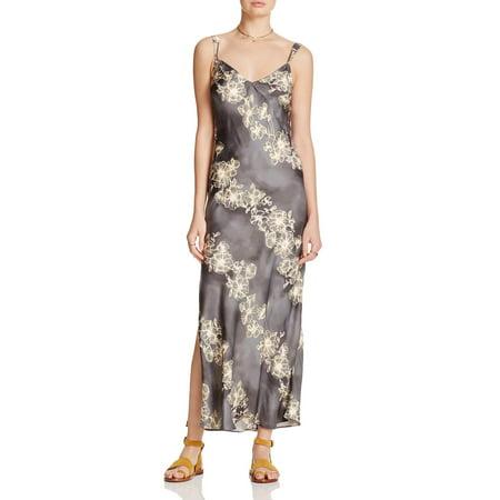 Intimately Free People Womens Satin Floral Print Slip Dress