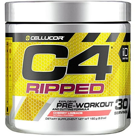 Cellucor C4 Ripped Pre Workout Powder, Thermogenic Fat Burner & Metabolism Booster for Men & Women, Cherry Limeade, 30