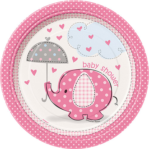 Pink Elephant Baby Shower Paper Dessert Plates, 7in, 8ct