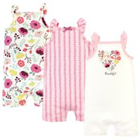 Touched by Nature Baby Girl Sleeveless Cotton Rompers, 3-Pack