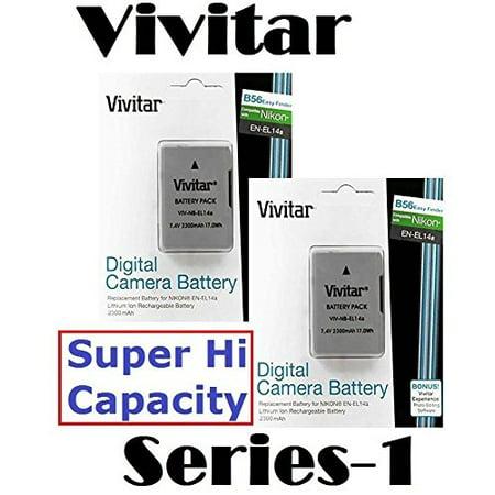 2300 mAh 2 Pcs EN-EL14a Li-Ion Battery for Nikon D5300
