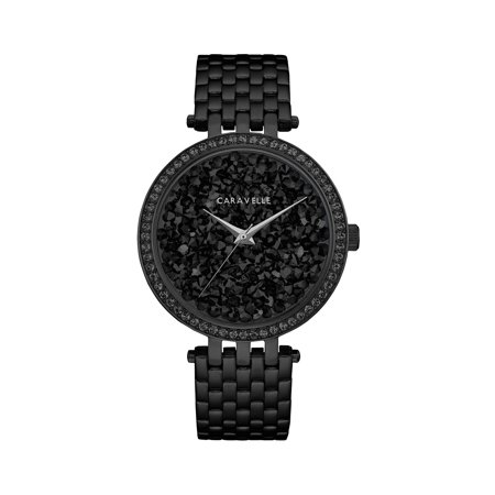 Caravelle Black Dial - Caravelle Women's Modern Black Crystal Rock Dial Black-Tone Stainless Steel Bracelet Watch 38mm