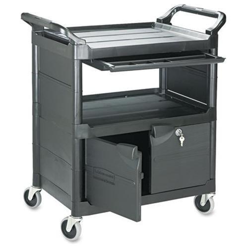 "Rubbermaid Lockable Storage Utility Cart - 200 Lb Capacity - 4"" Caster - Plastic - 33.6"" X 18.6""37.8"" - Black (345700bla)"