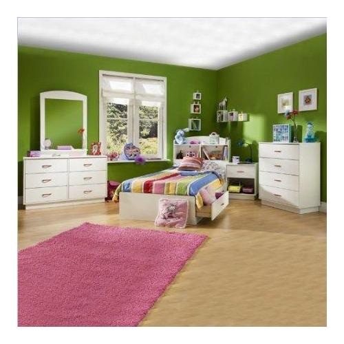 Kids Wood White Captain's Bed 5 Piece Bedroom Set